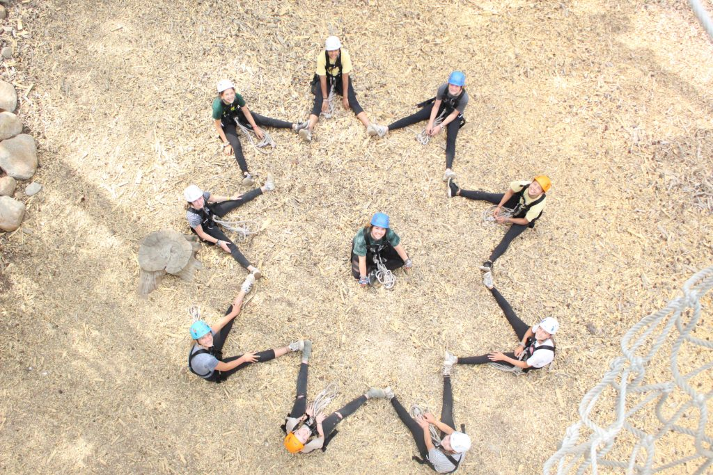 Campers are photographed from above sitting in a star shape